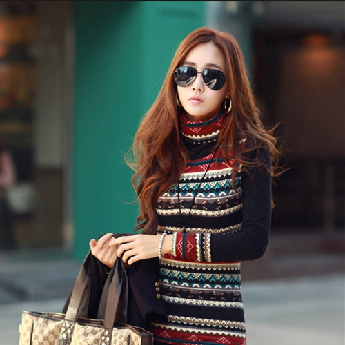 New Korean Fashion Women T-shirt Retro Print Turtle Neck Long Sleeve Thickened Basic Shirt TopsApparel &amp; Jewelry<br>New Korean Fashion Women T-shirt Retro Print Turtle Neck Long Sleeve Thickened Basic Shirt Tops<br>