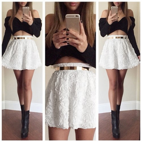 Sexy Women Two Pieces Wrap Front Off the Shoulder Long Sleeve 3D Rose Flower Elastic Waist Crop Top Mini Skirt BlackApparel &amp; Jewelry<br>Sexy Women Two Pieces Wrap Front Off the Shoulder Long Sleeve 3D Rose Flower Elastic Waist Crop Top Mini Skirt Black<br>