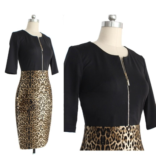 New Fashion Women Dress Front Zipper Patchwork Leopard Print Crew Neck Half Sleeves Sexy Pencil Dress BrownApparel &amp; Jewelry<br>New Fashion Women Dress Front Zipper Patchwork Leopard Print Crew Neck Half Sleeves Sexy Pencil Dress Brown<br>