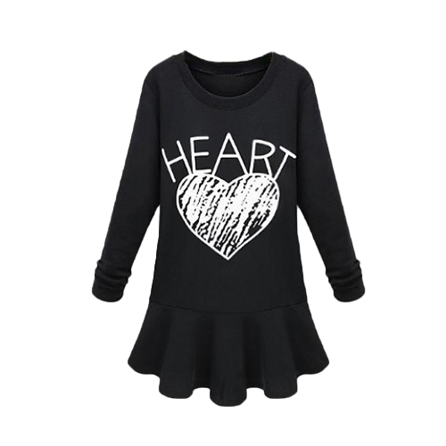 Europe Celebrity Women Dress Letter Heart Print Crew Neck Long Sleeve Mini Dress Black/GreyApparel &amp; Jewelry<br>Europe Celebrity Women Dress Letter Heart Print Crew Neck Long Sleeve Mini Dress Black/Grey<br>