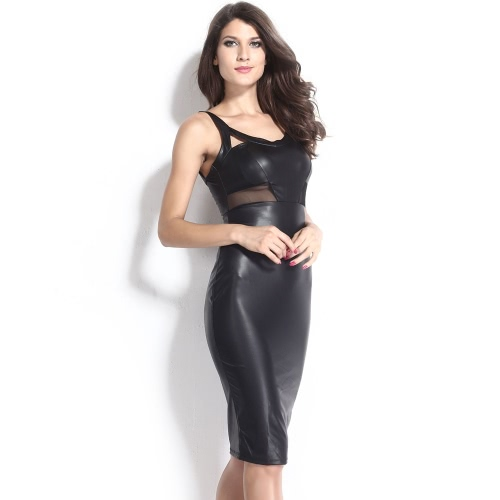 New Sexy Women Dress Mesh Cutout V Neckline Sleeveless Party Club Midi Dress Black/WhiteApparel &amp; Jewelry<br>New Sexy Women Dress Mesh Cutout V Neckline Sleeveless Party Club Midi Dress Black/White<br>