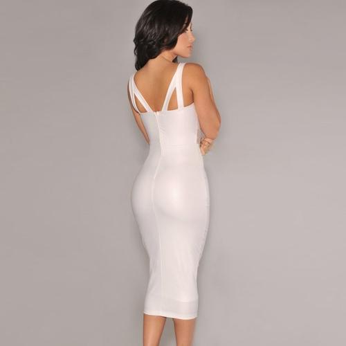 New Sexy Women Dress Mesh Cutout V Neckline Sleeveless Party Club Midi Dress Black/WhiteApparel &amp; Jewelry<br>New Sexy Women Dress Mesh Cutout V Neckline Sleeveless Party Club Midi Dress Black/White<br>