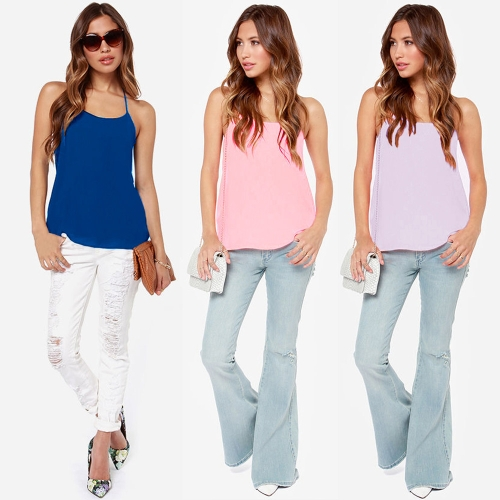 Fashion Women Strappy T-Shirt Scoop Neck Open Back Spaghetti Strap Tank Top Royal Blue/Pink/PurpleApparel &amp; Jewelry<br>Fashion Women Strappy T-Shirt Scoop Neck Open Back Spaghetti Strap Tank Top Royal Blue/Pink/Purple<br>