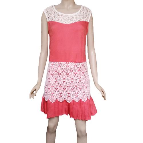 Fashion Women Mini Dress Crochet Lace Patchwork Pleated Hem Side Zipper Crew Neck Sleeveless Dress RedApparel &amp; Jewelry<br>Fashion Women Mini Dress Crochet Lace Patchwork Pleated Hem Side Zipper Crew Neck Sleeveless Dress Red<br>