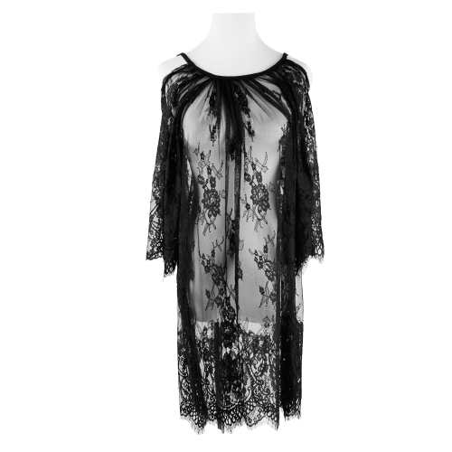 Vintage Women Boho Beach Dress Sexy Strap Sheer Floral Lace Crew Neck Hippie Party Dress Swimsuit Cover Black/WhiteApparel &amp; Jewelry<br>Vintage Women Boho Beach Dress Sexy Strap Sheer Floral Lace Crew Neck Hippie Party Dress Swimsuit Cover Black/White<br>