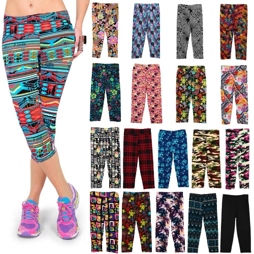 Fashion Women Lady Cropped Trousers Vintage Print Elastic Waist Gym Wear Yoga Capri PantsApparel &amp; Jewelry<br>Fashion Women Lady Cropped Trousers Vintage Print Elastic Waist Gym Wear Yoga Capri Pants<br>