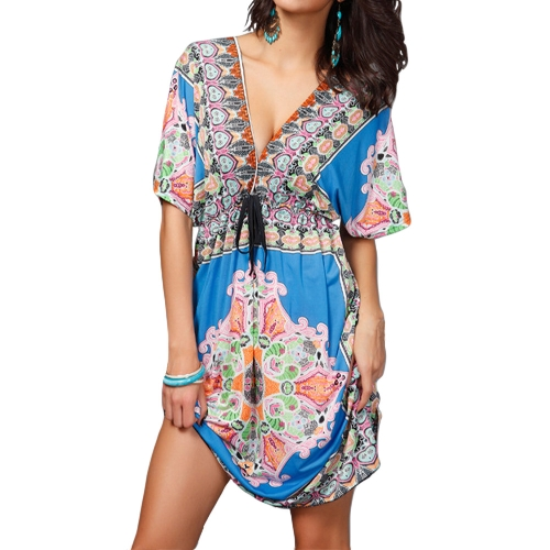 Retro Women Bohemian Dress Paisley Print V-Neck Short Sleeve Beach Wear Summer DressApparel &amp; Jewelry<br>Retro Women Bohemian Dress Paisley Print V-Neck Short Sleeve Beach Wear Summer Dress<br>
