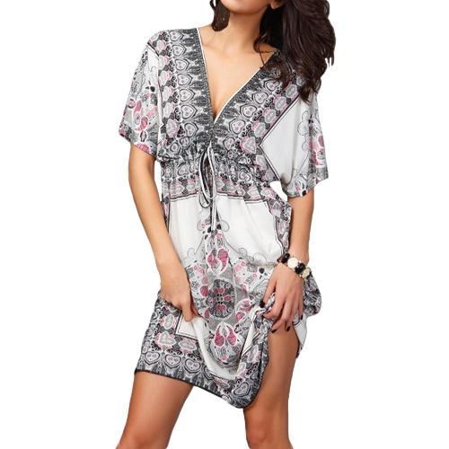 Retro Women Bohemian Dress Paisley Print V-Neck Short Sleeve Beach Wear Summer DressApparel &amp; Jewelry<br>Retro Women Bohemian Dress Paisley Print V-Neck Short Sleeve Beach Wear Summer Dress<br>