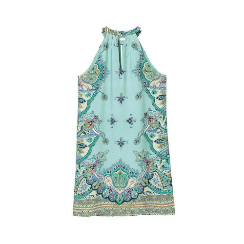 New Fashion Women Dress Chiffon Print Halter Neckline Off Shoulder Sleeveless Vintage One-piece GreenApparel &amp; Jewelry<br>New Fashion Women Dress Chiffon Print Halter Neckline Off Shoulder Sleeveless Vintage One-piece Green<br>