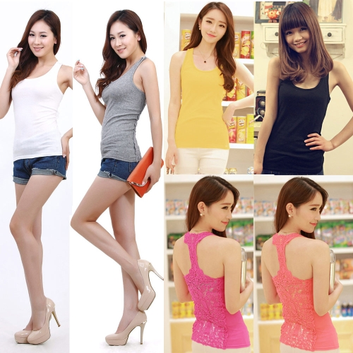 Fashion Women Tank Top Crochet Lace Hollow Out Back Round Neck Sleeveless Sexy Camisole T-ShirtApparel &amp; Jewelry<br>Fashion Women Tank Top Crochet Lace Hollow Out Back Round Neck Sleeveless Sexy Camisole T-Shirt<br>