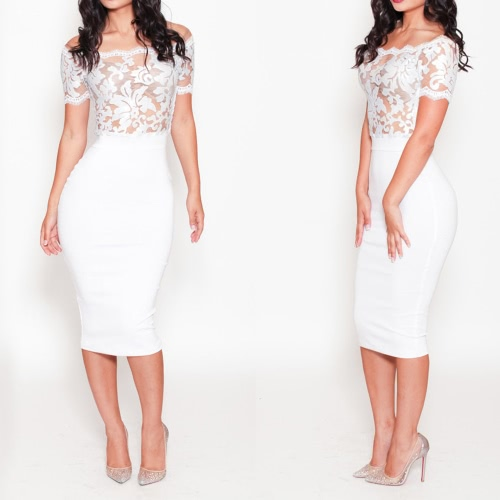 New Fashion Women Dress Off Shoulder Mesh Embroidered Lace Trim Cocktail Evening Party Dress WhiteApparel &amp; Jewelry<br>New Fashion Women Dress Off Shoulder Mesh Embroidered Lace Trim Cocktail Evening Party Dress White<br>