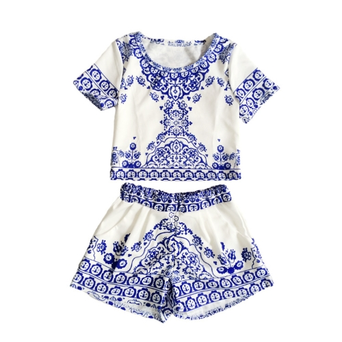 Vintage Women Two Pieces Porcelain Print Crop Top Shorts Elastic Waist Pockets Twin Set BlueApparel &amp; Jewelry<br>Vintage Women Two Pieces Porcelain Print Crop Top Shorts Elastic Waist Pockets Twin Set Blue<br>