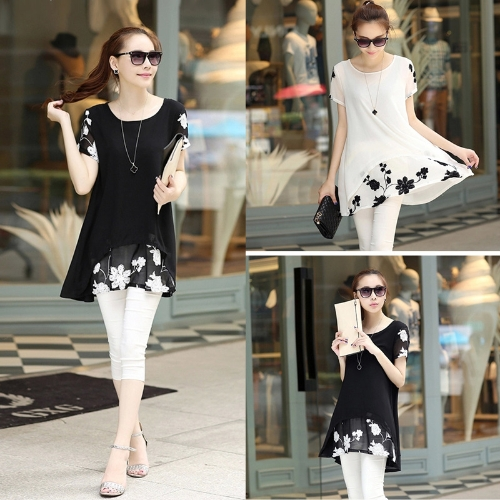 New Fashion Women Chiffon Blouse Embroidery Crew Neck Short Sleeve Loose Fit Casual Tops White/BlackApparel &amp; Jewelry<br>New Fashion Women Chiffon Blouse Embroidery Crew Neck Short Sleeve Loose Fit Casual Tops White/Black<br>