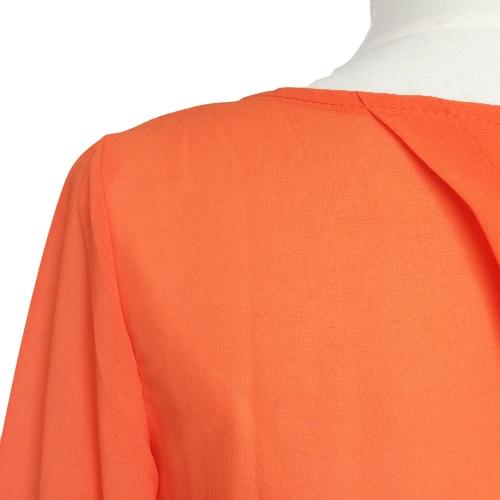 Fashion Women Chiffon Blouse Split Back Crew Neck Long Sleeve Backless Loose T-Shirt Top Black/OrangeApparel &amp; Jewelry<br>Fashion Women Chiffon Blouse Split Back Crew Neck Long Sleeve Backless Loose T-Shirt Top Black/Orange<br>