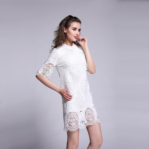 New Fashion Women Dresss Crochet Lace Solid Design Hollow Out Half Sleeve Elegant One-piece WhiteApparel &amp; Jewelry<br>New Fashion Women Dresss Crochet Lace Solid Design Hollow Out Half Sleeve Elegant One-piece White<br>