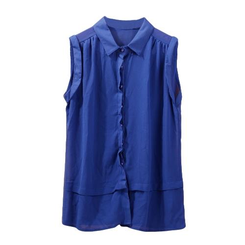 Fashion Women Semi-Sheer Chiffon Blouse Turn-down Collar Button Sleeveless T-Shirt Top White/Royal BlueApparel &amp; Jewelry<br>Fashion Women Semi-Sheer Chiffon Blouse Turn-down Collar Button Sleeveless T-Shirt Top White/Royal Blue<br>