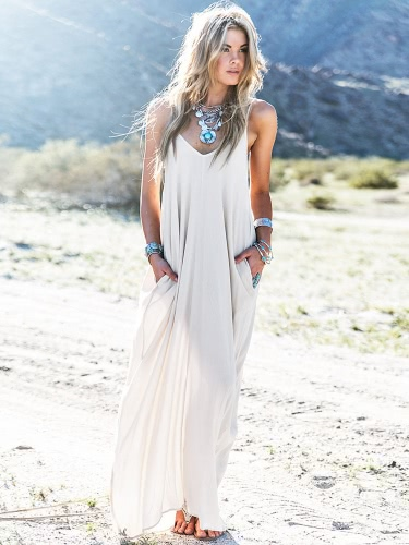 Fashion Women Maxi Dress Solid Color Spaghetti Strap Plunge V Neck Side Pocket Loose Beach Dress WhiteApparel &amp; Jewelry<br>Fashion Women Maxi Dress Solid Color Spaghetti Strap Plunge V Neck Side Pocket Loose Beach Dress White<br>