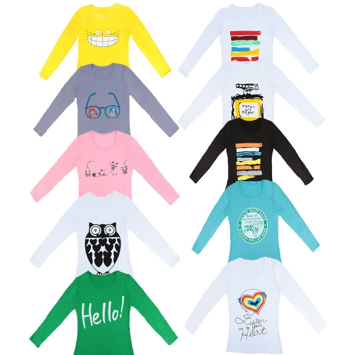 New Fashion Women Simple T-Shirt Cartoon Print Round Neck Long Sleeve Casual Pullover TeeApparel &amp; Jewelry<br>New Fashion Women Simple T-Shirt Cartoon Print Round Neck Long Sleeve Casual Pullover Tee<br>