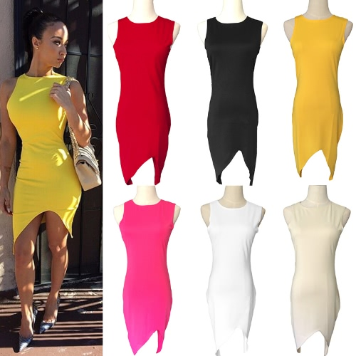 New Fashion Women Dress Solid Design Asymmetric Hem Crew Neck Sleeveless Sexy One-pieceApparel &amp; Jewelry<br>New Fashion Women Dress Solid Design Asymmetric Hem Crew Neck Sleeveless Sexy One-piece<br>