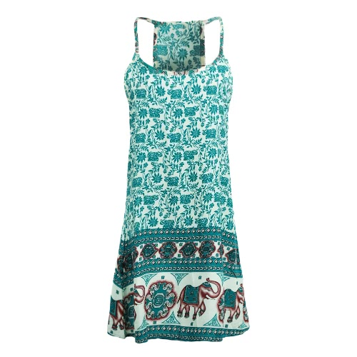 Sexy Floral Elephant Print Spaghetti Strap Sleeveless Womens Beach Mini DressApparel &amp; Jewelry<br>Sexy Floral Elephant Print Spaghetti Strap Sleeveless Womens Beach Mini Dress<br>