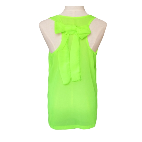 New Fashion Women Chiffon Vest Back Bow Sheer Blouse Sleeveless Crew Neck Tank TopApparel &amp; Jewelry<br>New Fashion Women Chiffon Vest Back Bow Sheer Blouse Sleeveless Crew Neck Tank Top<br>