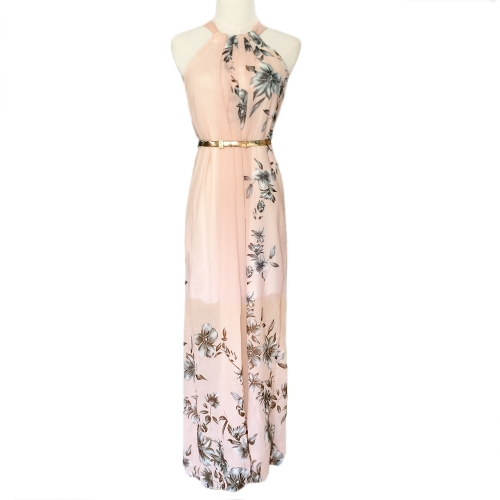 Sexy Women Chiffon Dress Floral Print Crew Neck Sleeveless Party Beach Boho Long Maxi Dress Sundress PinkApparel &amp; Jewelry<br>Sexy Women Chiffon Dress Floral Print Crew Neck Sleeveless Party Beach Boho Long Maxi Dress Sundress Pink<br>