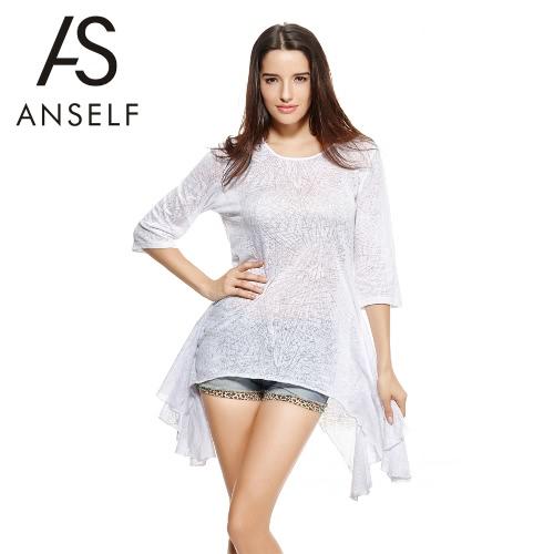 New Fashion Women Casual T-Shirt Burn Out Design O Neck Three Quarter Sleeve Asymmetric Hem Loose Top Black/White