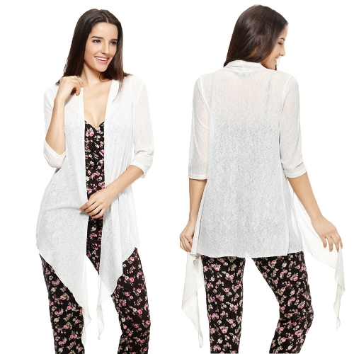 New Fashion Women Kimono Open Front Drape Three Quarter Sleeve Loose Solid Casual Tops WhiteApparel &amp; Jewelry<br>New Fashion Women Kimono Open Front Drape Three Quarter Sleeve Loose Solid Casual Tops White<br>