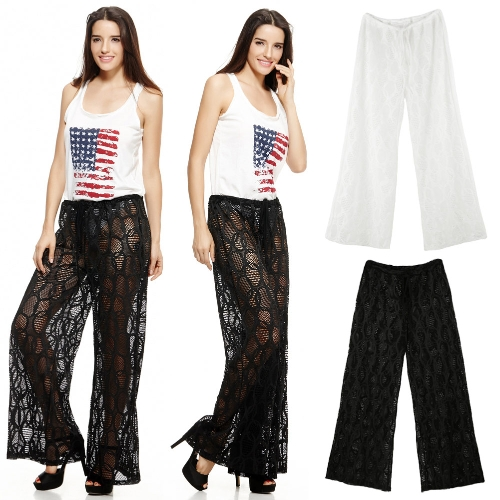 New Sexy Women Beach Trousers Hollow Out Drawstring Waist Wide Leg Casual Boho Loose Pants Black/WhiteApparel &amp; Jewelry<br>New Sexy Women Beach Trousers Hollow Out Drawstring Waist Wide Leg Casual Boho Loose Pants Black/White<br>