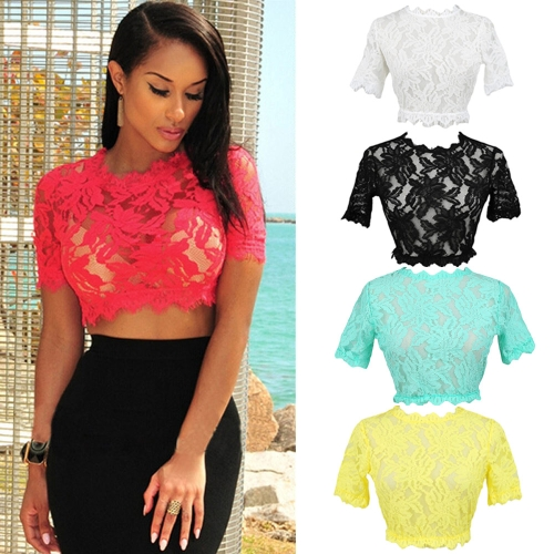 Sexy Women Eyelash Lace Short Crop TopApparel &amp; Jewelry<br>Sexy Women Eyelash Lace Short Crop Top<br>