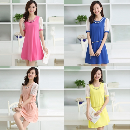 Korean Fashion Women Lady Dress Candy Color Contrast Short Sleeve Lining Mini DressApparel &amp; Jewelry<br>Korean Fashion Women Lady Dress Candy Color Contrast Short Sleeve Lining Mini Dress<br>