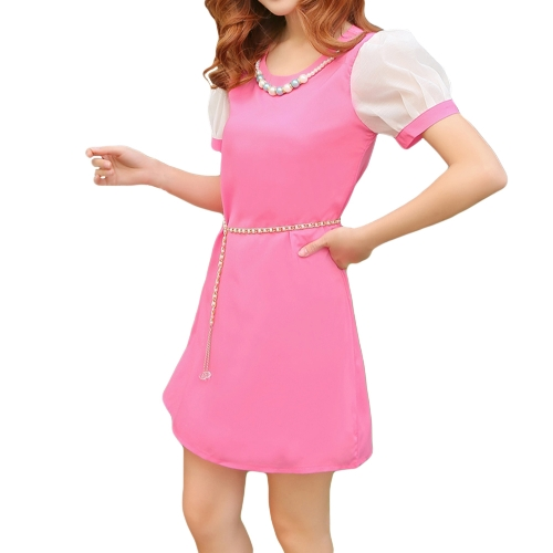 Korean Fashion Women Lady Dress Candy Color Contrast Short Sleeve Lining Mini DressApparel &amp; Jewelry<br>Korean Fashion Women Lady Dress Candy Color Contrast Short Sleeve Lining Mini Dress<br>
