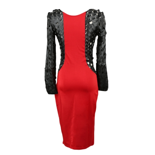 New Sexy Women Bodycon Dress Patchwork Zipper Front Pencil Dress Party Evening Clubwear Red