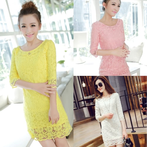 New Fashion Women Dress Floral Embroidery O-neck Three Quater Sleeve Elegant One-piece Yellow/Pink/WhiteApparel &amp; Jewelry<br>New Fashion Women Dress Floral Embroidery O-neck Three Quater Sleeve Elegant One-piece Yellow/Pink/White<br>