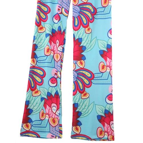 Fashion Women Vintage Trousers Floral Print Elastic Waist Wide Leg Loose Pants RoseApparel &amp; Jewelry<br>Fashion Women Vintage Trousers Floral Print Elastic Waist Wide Leg Loose Pants Rose<br>
