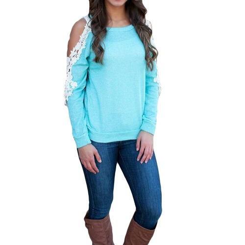 New Fashion Women T-Shirt Cold Shoulder Lace Patchwork Long Sleeve Top Blouse Blue