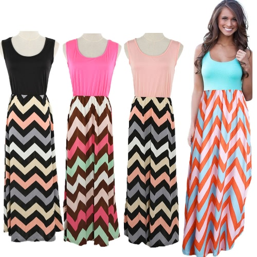 Fashion Women Summer Patchwork Dress Wavy Stripes Round Neck Sleeveless Elastic Waist Maxi Long DressApparel &amp; Jewelry<br>Fashion Women Summer Patchwork Dress Wavy Stripes Round Neck Sleeveless Elastic Waist Maxi Long Dress<br>