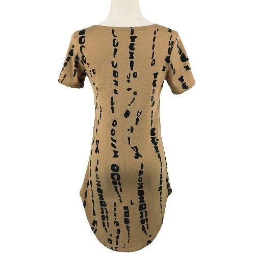 New Fashion Women Dress Contrast Print Curved Hem Short Sleeve Slim Fit Casual T-shirt DressApparel &amp; Jewelry<br>New Fashion Women Dress Contrast Print Curved Hem Short Sleeve Slim Fit Casual T-shirt Dress<br>
