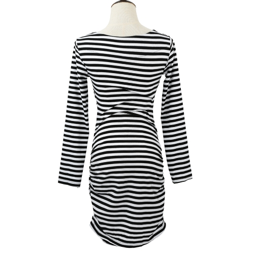 New Fashion Women Striped Dress Deep V Neck Wrap Long Sleeve Ruched Sides Sexy Bodycon Mini Dress BlackApparel &amp; Jewelry<br>New Fashion Women Striped Dress Deep V Neck Wrap Long Sleeve Ruched Sides Sexy Bodycon Mini Dress Black<br>