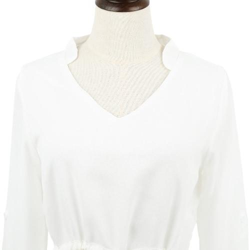 New Fashion Women Chiffon Dress V Neck Drawstring Waist Asymmetric Hem Casual Mini Dress WhiteApparel &amp; Jewelry<br>New Fashion Women Chiffon Dress V Neck Drawstring Waist Asymmetric Hem Casual Mini Dress White<br>