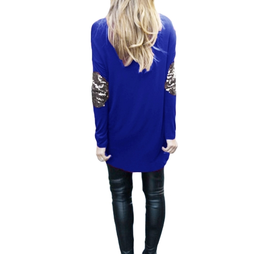 New Fashion Women T-Shirt Patchwork Elbow Round Neck Long Sleeve Asymmetric Hem Casual TopApparel &amp; Jewelry<br>New Fashion Women T-Shirt Patchwork Elbow Round Neck Long Sleeve Asymmetric Hem Casual Top<br>
