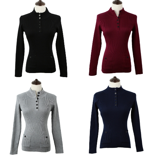 New Fashion Women Sweater Stand Collar Buttons Long Sleeve Solid Bodycon Fit Casual KnitwearApparel &amp; Jewelry<br>New Fashion Women Sweater Stand Collar Buttons Long Sleeve Solid Bodycon Fit Casual Knitwear<br>