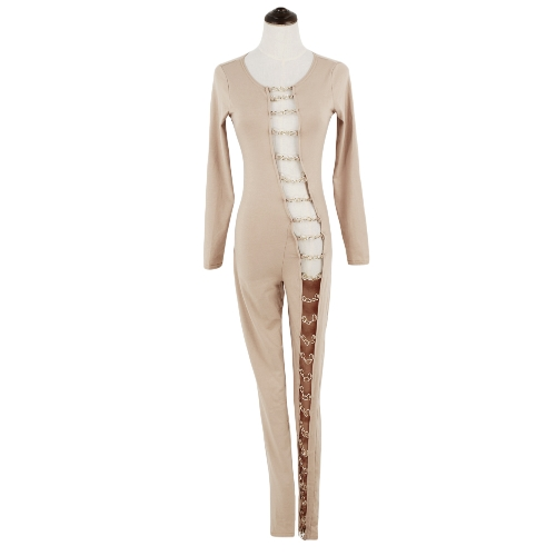 Sexy Women Bandage Jumpsuit Hollow Out Cut Out Round Neck Long Sleeve Bodycon Club Party Rompers Black/Red/KhakiApparel &amp; Jewelry<br>Sexy Women Bandage Jumpsuit Hollow Out Cut Out Round Neck Long Sleeve Bodycon Club Party Rompers Black/Red/Khaki<br>