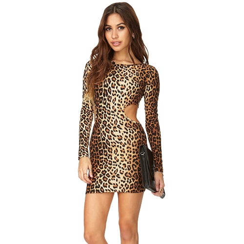 セクシーなファッションの女性ドレス ヒョウ印刷素材ウエスト長袖ミニドレス スリム ボディコン パーティー メンズ ブラウン