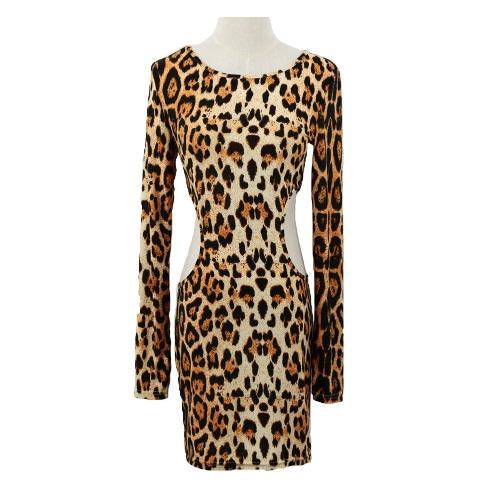Sexy Leopard Cutout Waist Long Sleeve Mini Bodycon Party Club DressApparel &amp; Jewelry<br>Sexy Leopard Cutout Waist Long Sleeve Mini Bodycon Party Club Dress<br>