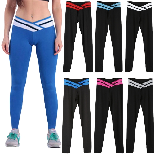 Fashion Women Stretch Leggings Contrast Color Elastic Waist Gym Sport Running Pants TrousersApparel &amp; Jewelry<br>Fashion Women Stretch Leggings Contrast Color Elastic Waist Gym Sport Running Pants Trousers<br>