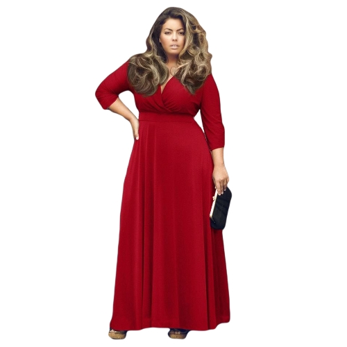 New Fashion Women Dress Stretch Wrap V Neck Three Quarter Sleeve Maxi Plus Size Casual One-pieceApparel &amp; Jewelry<br>New Fashion Women Dress Stretch Wrap V Neck Three Quarter Sleeve Maxi Plus Size Casual One-piece<br>