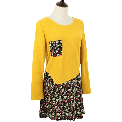 Fashion Women Jersey Dress Floral Print Pullover Fake Two Piece Long Sleeve Round Neck Stretchy Knit DressApparel &amp; Jewelry<br>Fashion Women Jersey Dress Floral Print Pullover Fake Two Piece Long Sleeve Round Neck Stretchy Knit Dress<br>