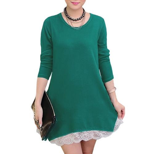 New Sweet Women Mini Dress Lace Hem Stretchy Jersey Long Shirt Swing Dress Casual TopsApparel &amp; Jewelry<br>New Sweet Women Mini Dress Lace Hem Stretchy Jersey Long Shirt Swing Dress Casual Tops<br>
