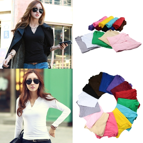 New Fashion Women T-shirt Stretch V-Neck Long Sleeve Lined Solid Casual Blouse Pullover Tee TopsApparel &amp; Jewelry<br>New Fashion Women T-shirt Stretch V-Neck Long Sleeve Lined Solid Casual Blouse Pullover Tee Tops<br>